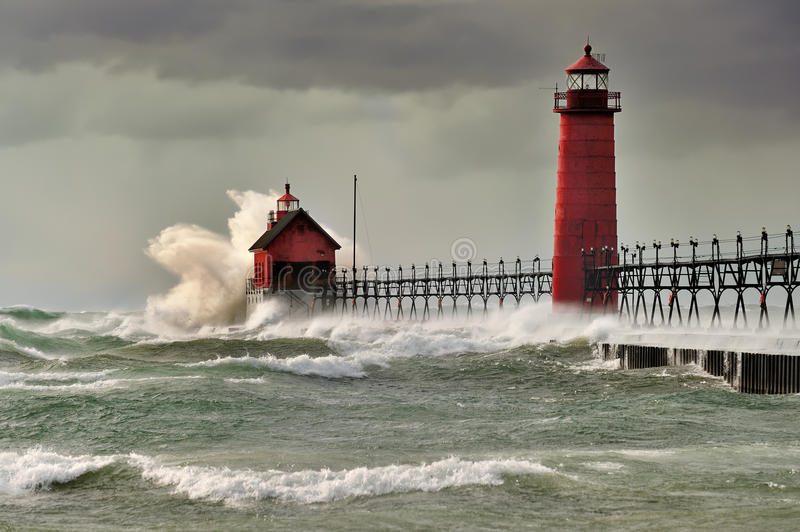 Download Natures Fury  Grand Haven Lighthouse Stock Photo - Image of guard, ominous: 21402378