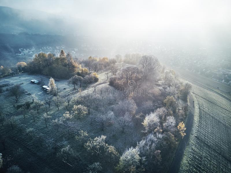 Natureza coberto de neve aérea Europa bonita Forest Mountain Travel White Famous do inverno da paisagem da metragem do zangão das fotografia de stock royalty free