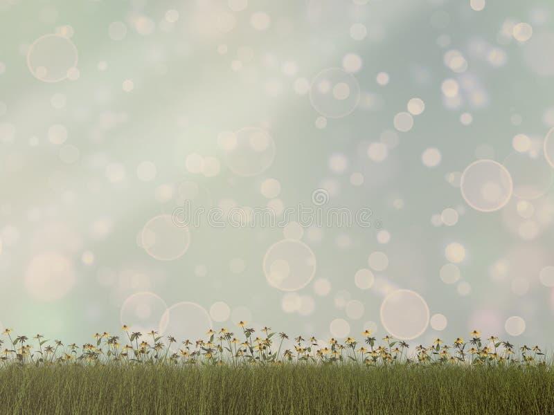 Natureza com fundo da grama e do bokeh - 3D rendem ilustração stock