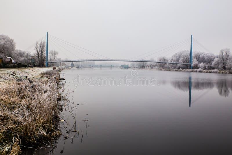 Natureza congelada pelo rio Elbe-Celakovice, representante checo imagens de stock royalty free