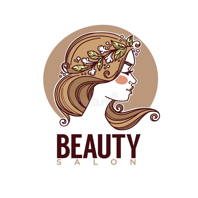 Natureza da beleza, imagem do esboço do vetor da cara da menina para seu log ilustração royalty free