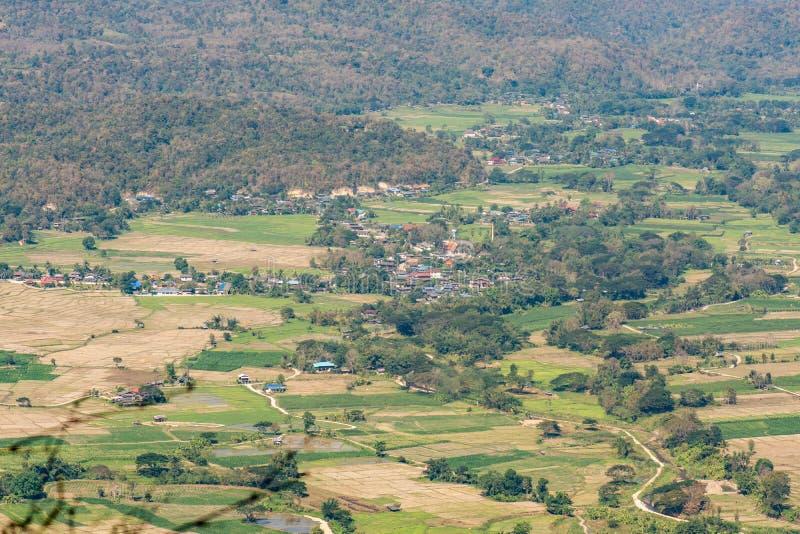 Natureza da paisagem do vale do campo do arroz e da cidade pequena foto de stock royalty free