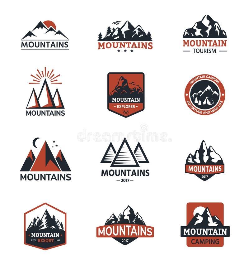 Natureza do crachá do logotipo do curso da silhueta do vetor da montanha exterior ilustração stock