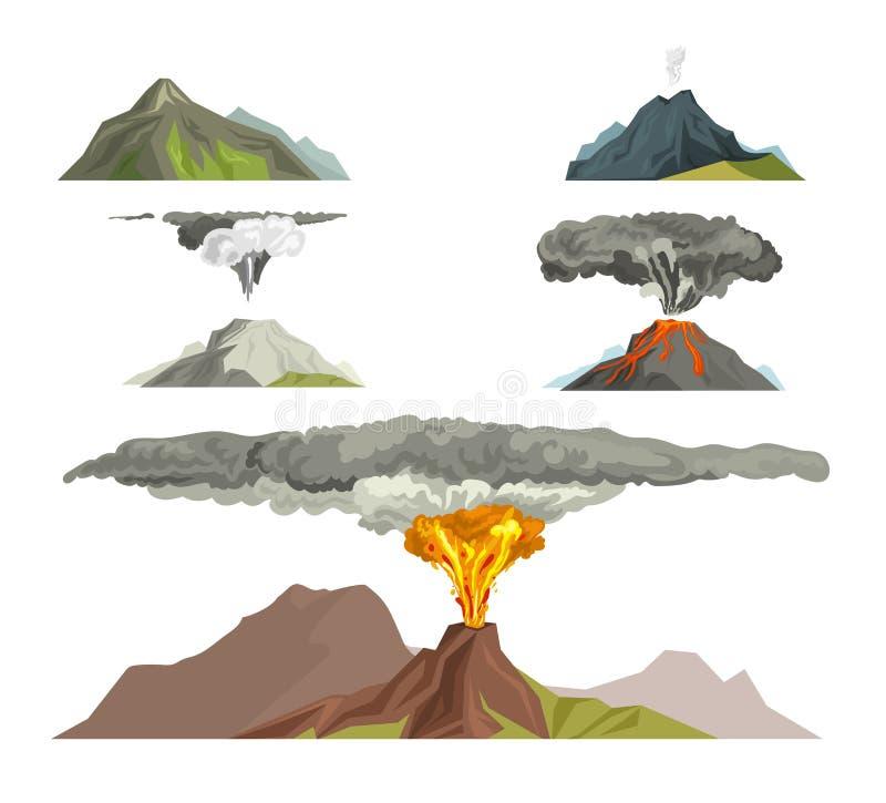 Natureza do magma do vulcão que funde - acima com ilustração do vetor da montanha da lava da erupção vulcânica do fumo ilustração stock