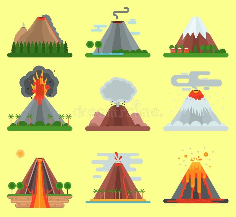 Natureza do magma do vetor do vulcão que funde - acima com a montanha do fumo isolada Erupção natural do fogo quente do vulcão da ilustração royalty free