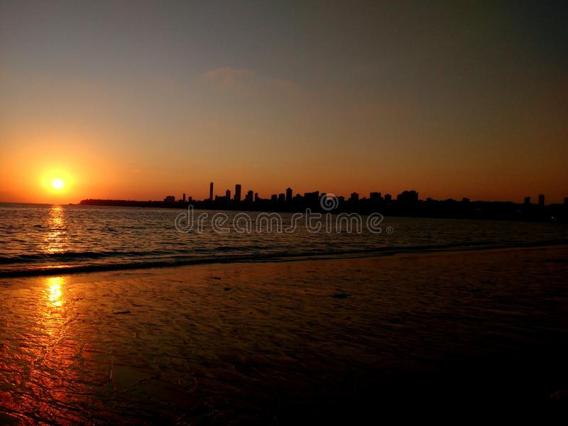 Natureza do por do sol de Mumbai fotos de stock royalty free