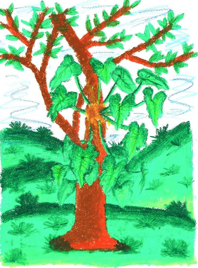 Natureza do verão da pintura das crianças ilustração stock