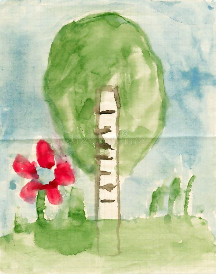 Natureza do verão da pintura das crianças ilustração do vetor