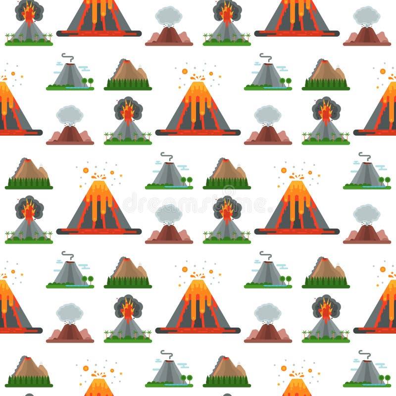 Natureza do vetor do magma do vulcão que funde - acima com terremoto natural quente da erupção da montanha vulcânica da cratera d ilustração do vetor