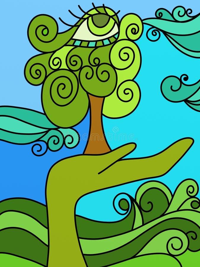 Natureza em sua mão ilustração stock