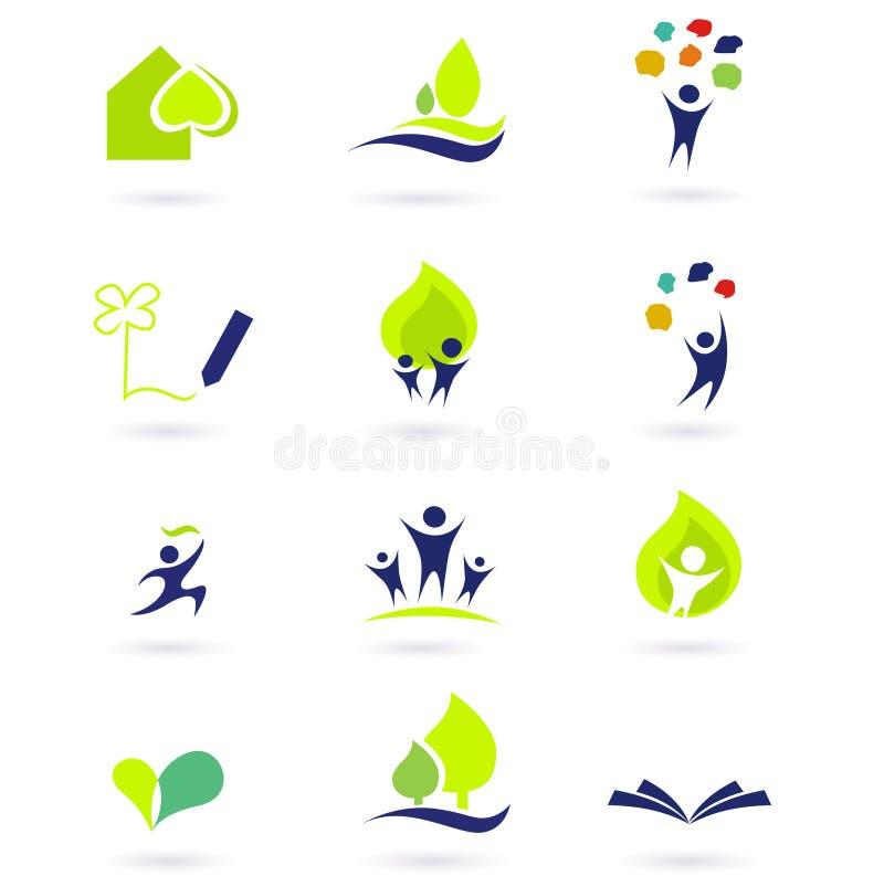 Natureza, escola e ícones da instrução ilustração do vetor