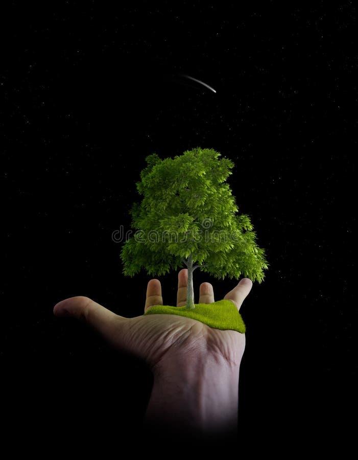 A natureza está nas mãos do homem ilustração royalty free