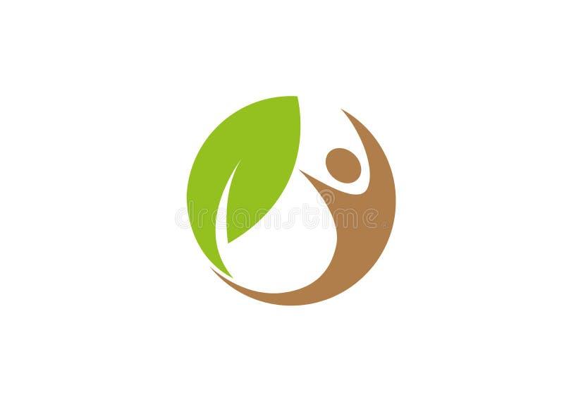 Natureza humana e folha saudáveis no círculo para a ilustração do projeto do logotipo ilustração royalty free