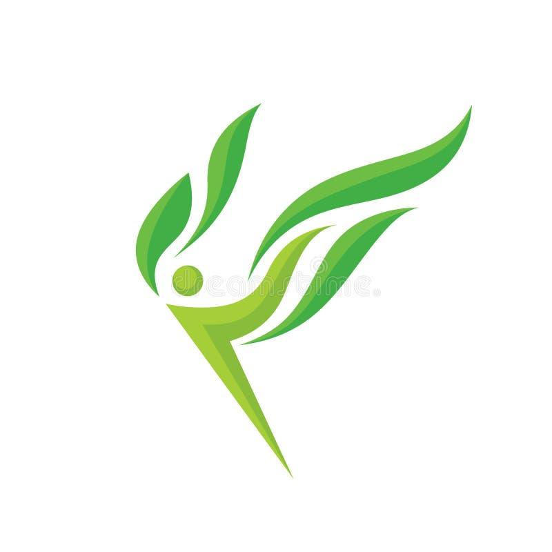 Natureza - ilustração do conceito do molde do logotipo do vetor A figura humana do caráter do voo abstrato com verde sae do sinal ilustração royalty free