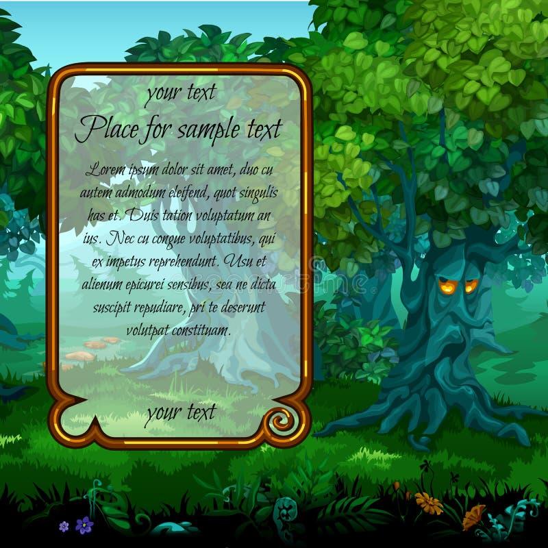Natureza místico e quadro para o texto à esquerda ilustração do vetor