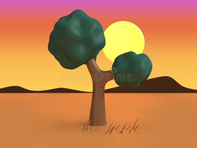 natureza poli do por do sol da árvore do deserto 3d o estilo alaranjado 3d dos desenhos animados da cena da baixa para render ilustração stock