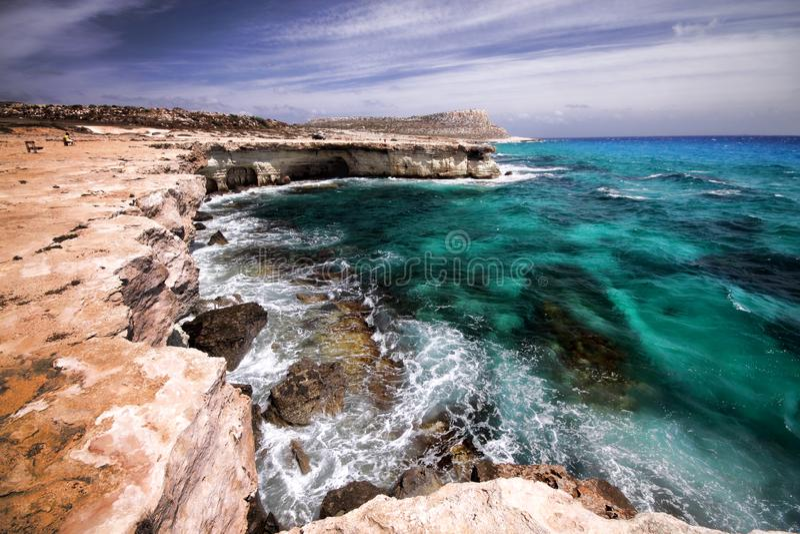 Natureza selvagem da península de Greco do cabo, Chipre fotos de stock