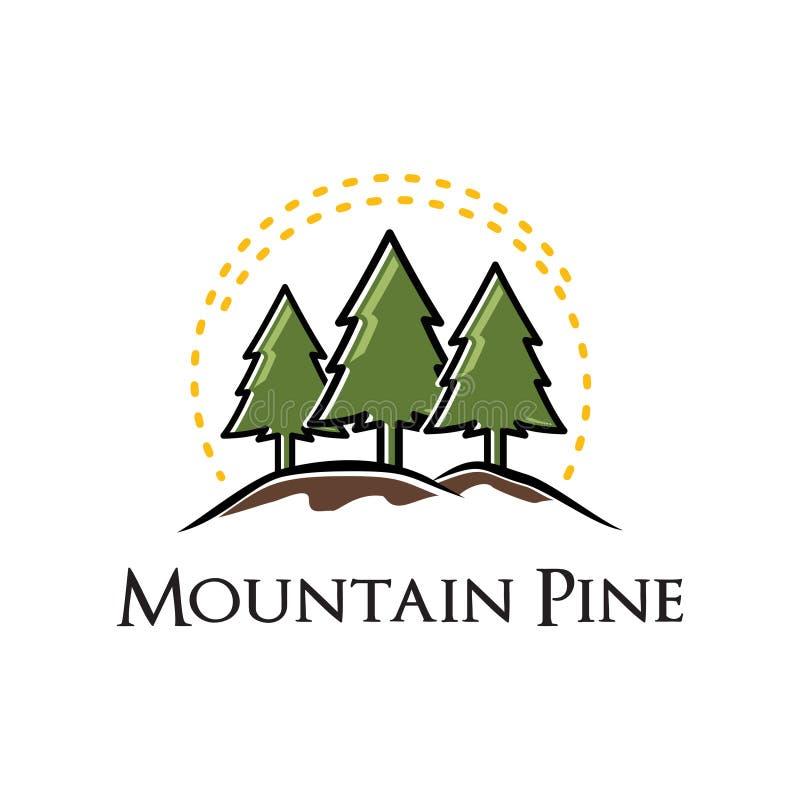 Natureza sempre-verde Logo Template do pinheiro da montanha ilustração stock