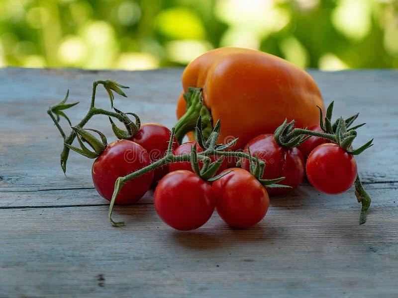 Naturgemüsetomatengemüsepaprika-Stilllebensommer Bauernhofgemüsebau-Lebensmittel buntes gelb-orangees rotes blurre erntend stockfotos