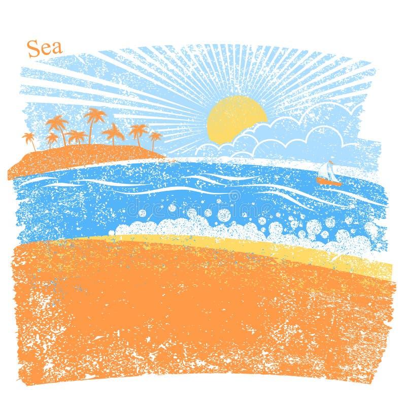 Naturhavsbakgrund med gömma i handflatan ön och blå himmel Vektorabstr stock illustrationer