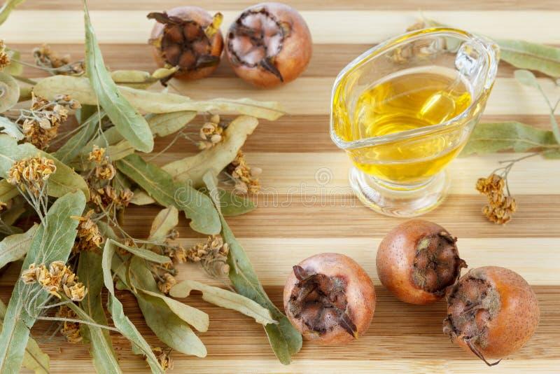 Naturheilmittel für Kälte- und Grippebehandlung - Limettenblüte, Mispelfrüchte und Honig lizenzfreie stockfotografie
