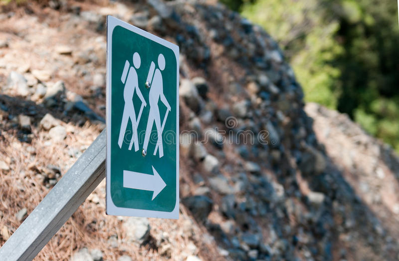Naturhinterfußweg, der Zeichen wandert lizenzfreies stockbild