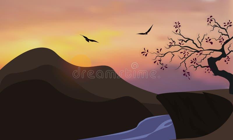 Naturhintergrund von Bergen und von Flusspanorama Bunter Sonnenuntergang im wilden Tal Windiger Himmel Brown-T?ne stock abbildung