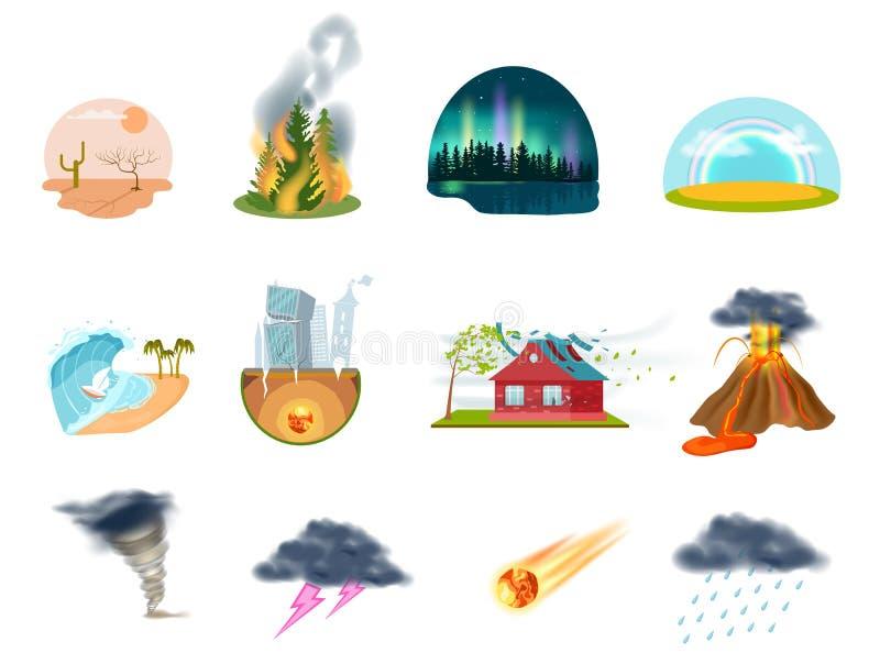 Naturkatastrofer isolerade symbolsuppsättningen vektor illustrationer