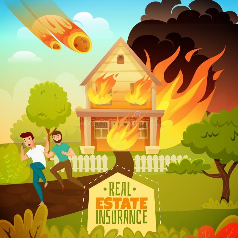 Naturkatastrofillustration stock illustrationer