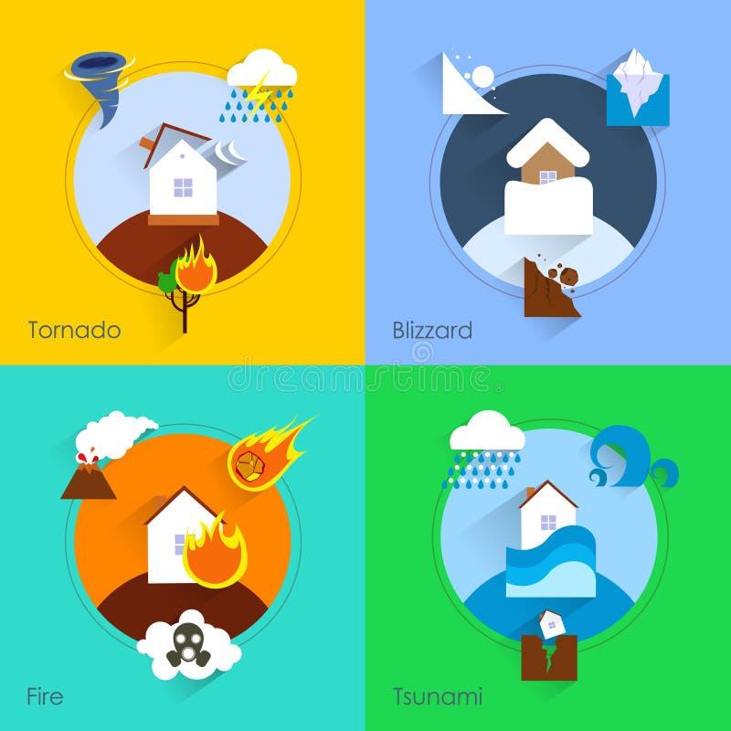 Naturkatastroflägenhet royaltyfri illustrationer