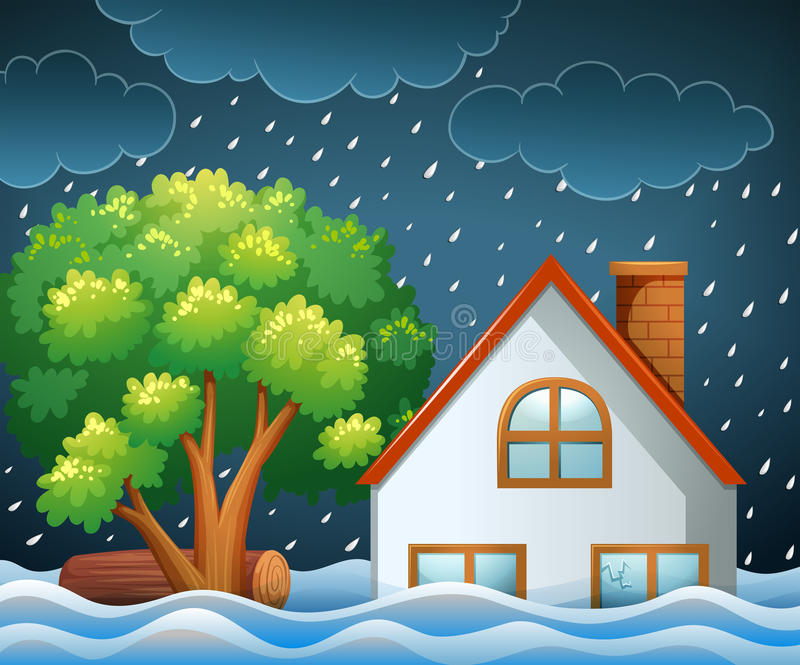 Naturkatastrofplats av översvämningen vektor illustrationer