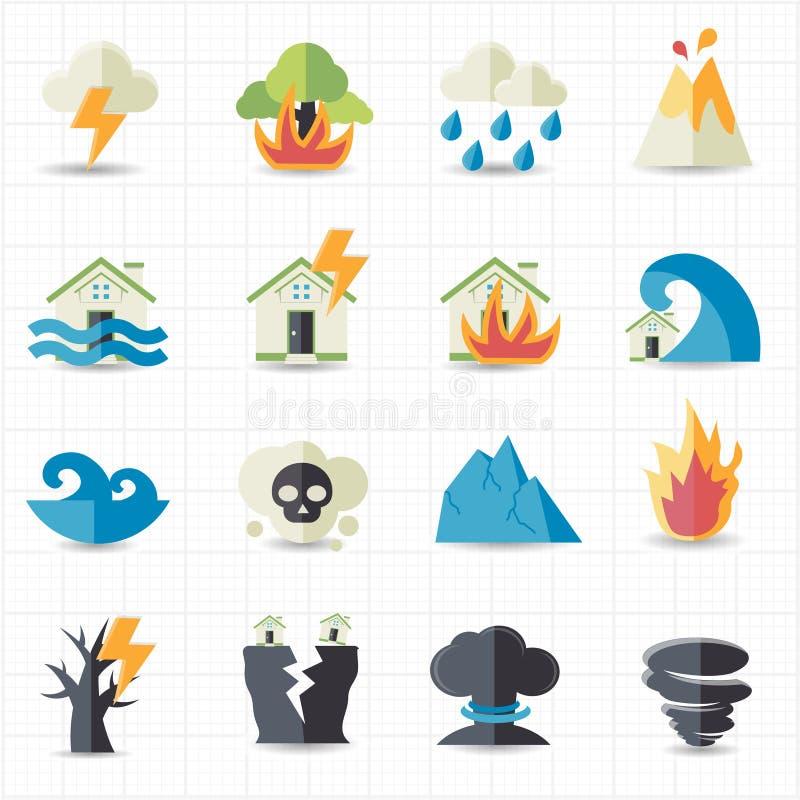 Naturkatastrofsymboler royaltyfri illustrationer