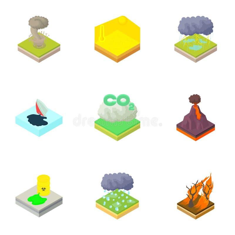 Naturkatastrofsymboler uppsättning, tecknad filmstil vektor illustrationer