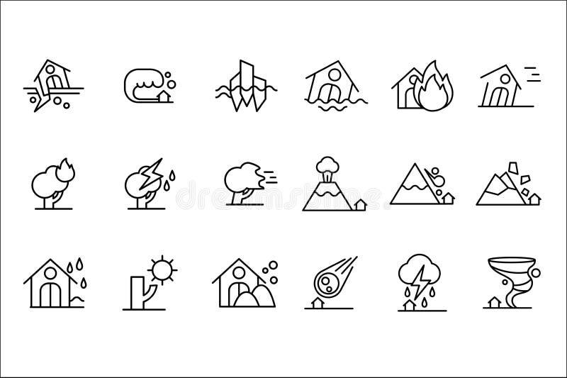 Naturkatastrofsymbolsuppsättning, storm, flod, vulkanutbrott, tromb, rockfall, brand, torkasvartlinje vektor vektor illustrationer