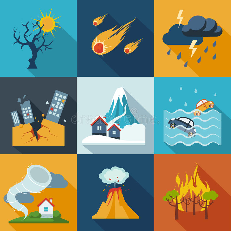 Naturkatastrophe-Ikonen vektor abbildung