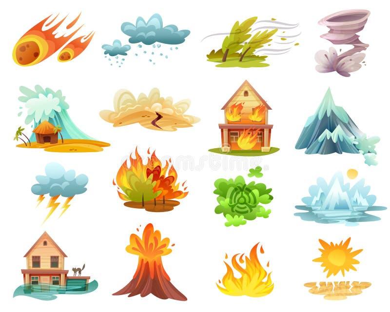 Naturkatastrophe-Karikatur-Ikonen eingestellt vektor abbildung