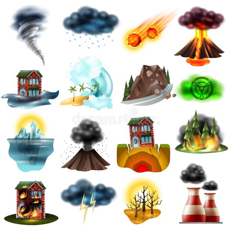 Naturkatastrophen eingestellt stock abbildung