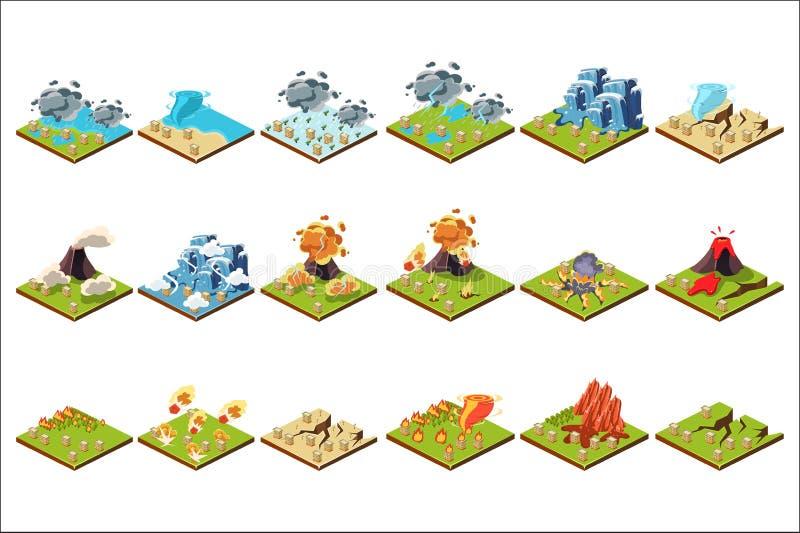 Naturkatastrophesatz, vulkanische Eruption, Tornado, Flut, Feuer, Dürrenvektor Illustrationen auf einem weißen Hintergrund stock abbildung