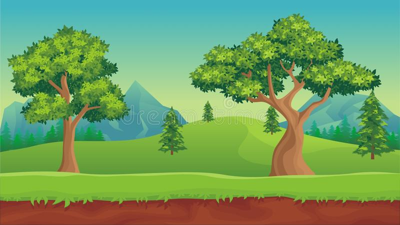 Naturlandschaft, Karikaturspielhintergrund stock abbildung