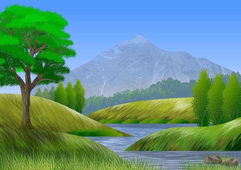 Naturlandschaft mit Berg, Bäumen, Hügeln und einem Fluss lizenzfreie abbildung
