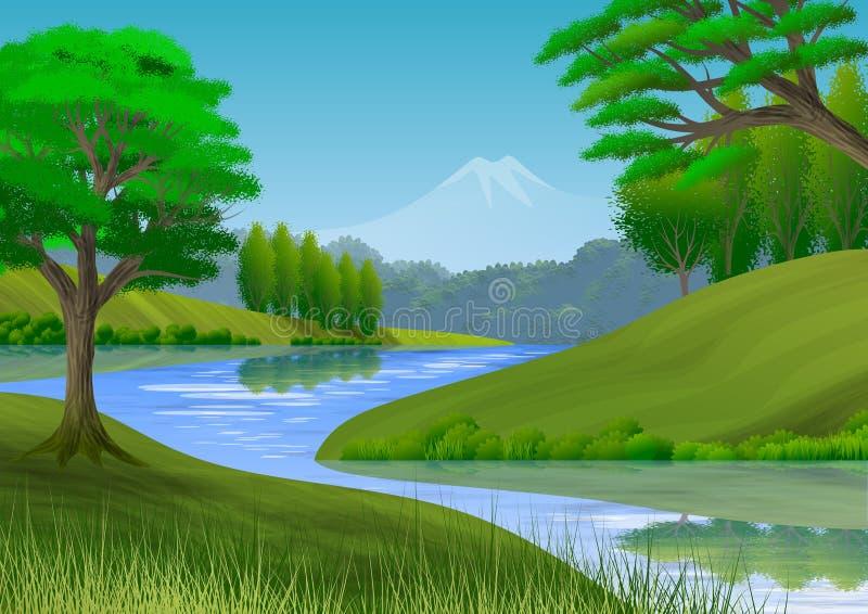 Naturlandschaft mit Berg, B?umen, H?geln und einem Fluss lizenzfreie abbildung