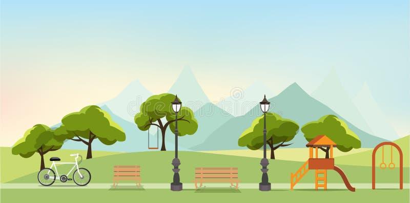 Naturlandschaft mit Garten, allgemeiner Park, Vergnügungspark, Vektor lizenzfreie abbildung