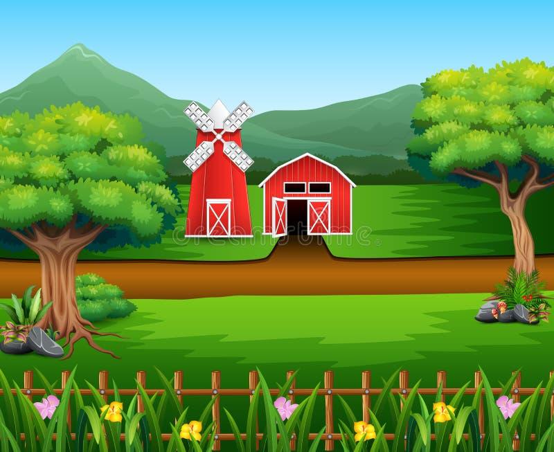 Naturlandschaft mit Halle und Windmühle lizenzfreie abbildung