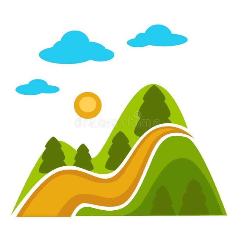 Naturlandschaft mit Hochgebirge und immergrünen Nadelbaumbäumen stock abbildung