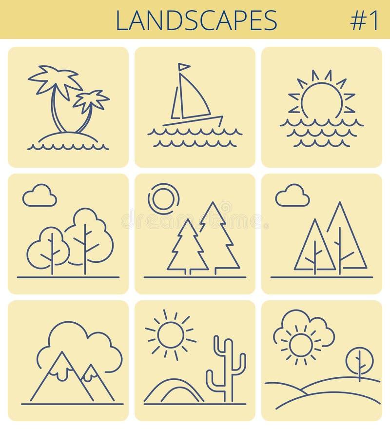 Naturlandschaftslinie Symbole Entwurfs-Ikonensatz des Vektors dünner stock abbildung
