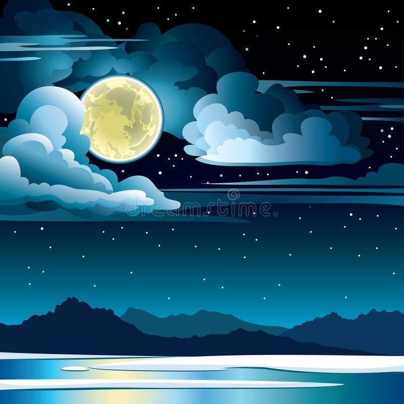 Naturlandskap med fullmånen och moln på en himmel för stjärnklar natt och en djupfryst sjö med konturn av berg Vintervektor royaltyfri illustrationer