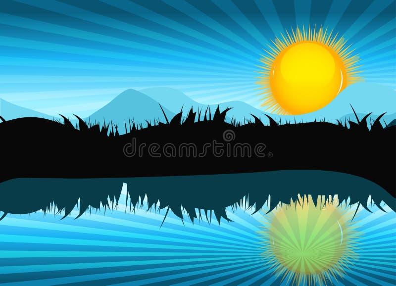 Naturlandskap med reflexion i vatten vektor royaltyfri illustrationer