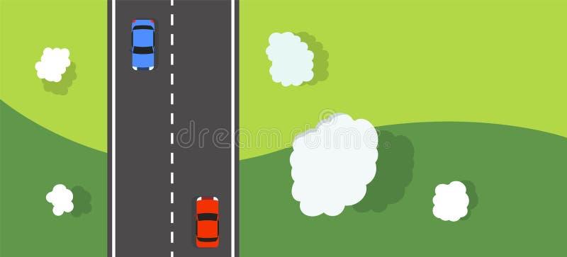 Naturlandskap med vektorn för bästa sikt för väg, för moln och för bilar Bygdväg med bilbanerdesign vektor illustrationer