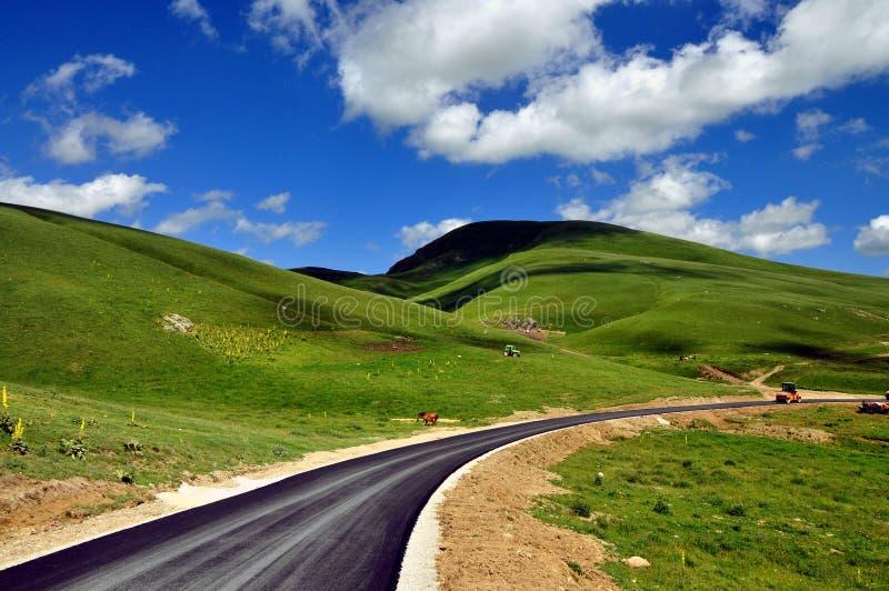Naturlandskap och ny asfaltväg Härlig bakgrund arkivfoton