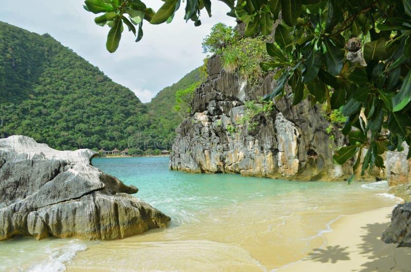Naturlandskap: Sandig tropisk strand med det kristallklara havet royaltyfri fotografi